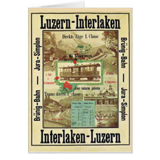 Vintage Swiss Railway, Christmas and New Year Greeting Card