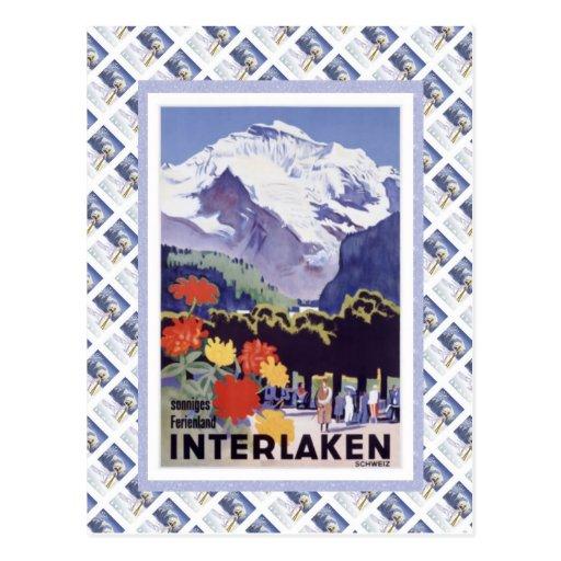 Vintage Swiss Railway Luzern Interlaken Brunig Post Card