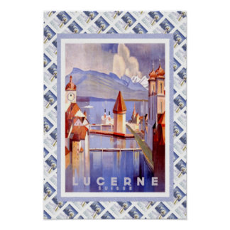 Vintage Swiss Railway Luzern Lucerne Print