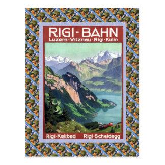 Vintage Swiss Railway Luzern Rigi Bahn Postcard