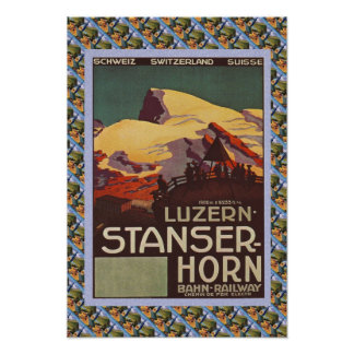 Vintage Swiss Railway Luzern Stanzerhorn Poster