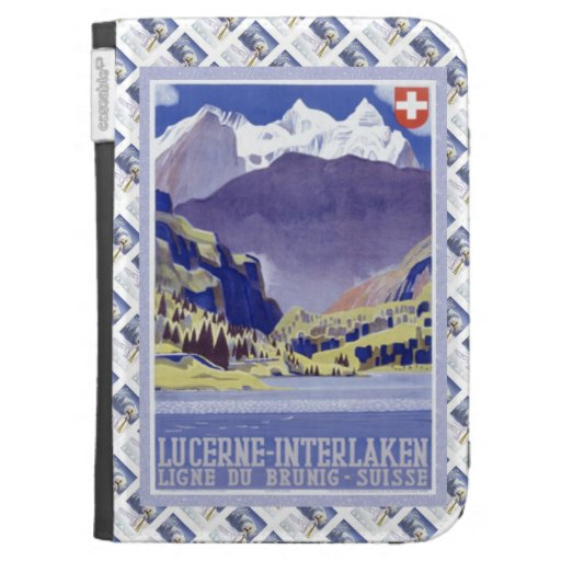 Vintage Swiss Railway Poster Luzern Interlaken Kindle Keyboard Cases
