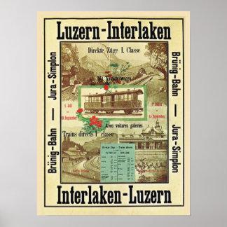 Vintage Swiss railway poster, Luzern to Interlaken Poster