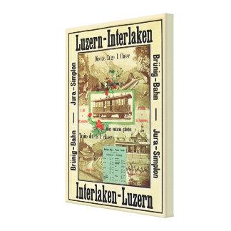 Vintage Swiss railway poster, Luzern to Interlaken Stretched Canvas Print