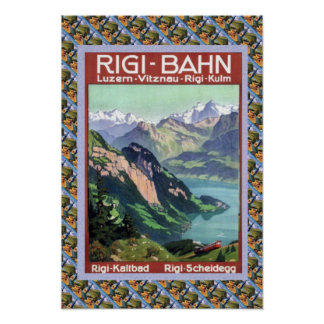 Vintage Swiss Railway Rigi Bahn Poster
