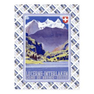 Vintage Swiss Raulway Poster Interlaken Luzern Postcard
