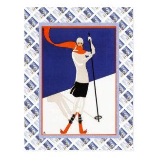 Vintage Swiss Raulway Poster, Ski Postcard