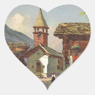 Vintage Switzerland, A village in the Valais Heart Sticker