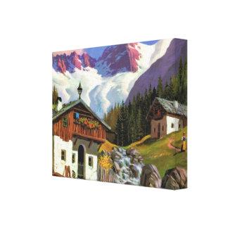 Vintage Switzerland, Gletscherwelt, village, Canvas Print