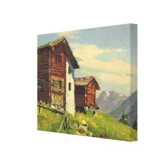 Vintage Switzerland, Hochweg, Saas Fee Canvas Print