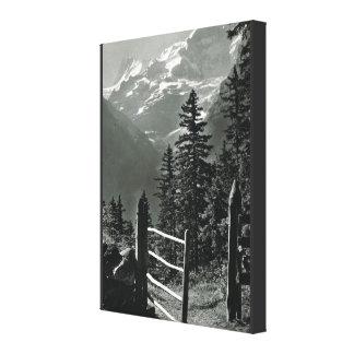 Vintage Switzerland, Jungfrau range Canvas Print