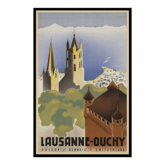 Vintage Switzerland Lausanne-Ouchy Poster