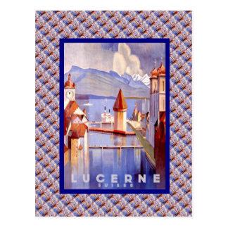 Vintage Switzerland, Lucerne, Bridges Postcard