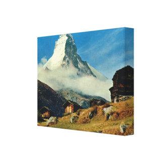 Vintage Switzerland, Matterhorn, Zermatt Canvas Print