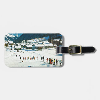 Vintage Switzerland, Morgins Ecole de ski Luggage Tag