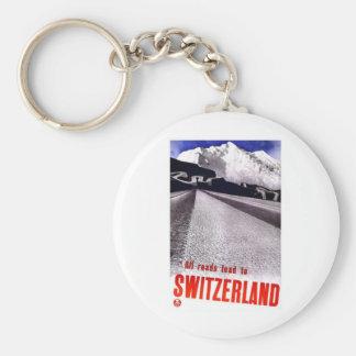 Vintage Switzerland Roads Key Ring