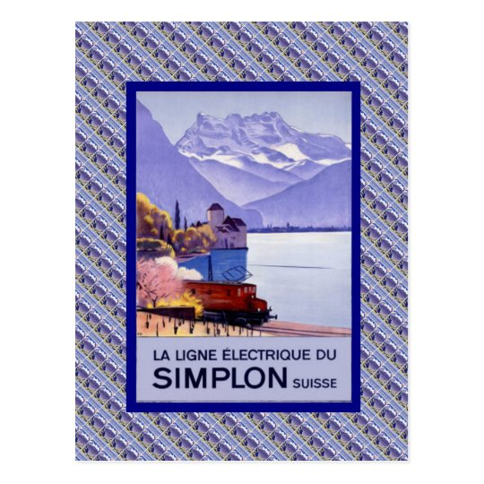Vintage Switzerland, Simplon Electric railway Postcard