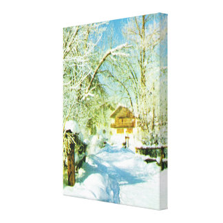Vintage Switzerland, Winter snow scene Gallery Wrap Canvas