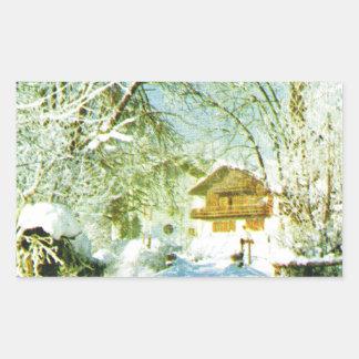 Vintage Switzerland, winter village Rectangular Sticker