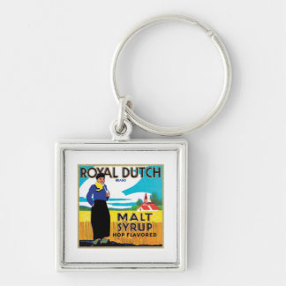 Vintage Syrup Food Product Label Silver-Colored Square Key Ring
