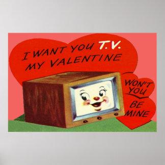Vintage T.V. Television Heart Valentine Poster