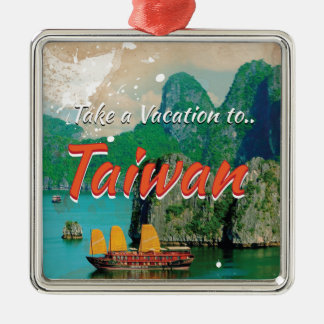 Vintage Taiwan Travel Poster Silver-Colored Square Decoration