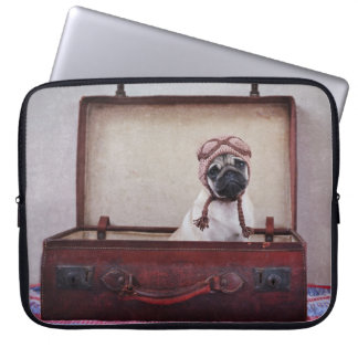 "Vintage ""Take me with you"" Pug Puppy Laptop Sleeve"