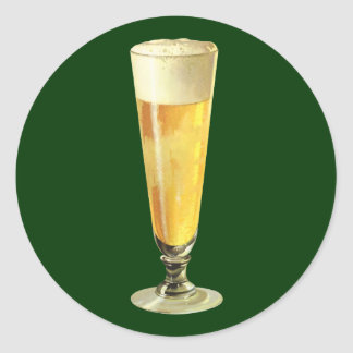 Vintage Tall Frosty Draft Beer, Alcohol Beverage Round Sticker