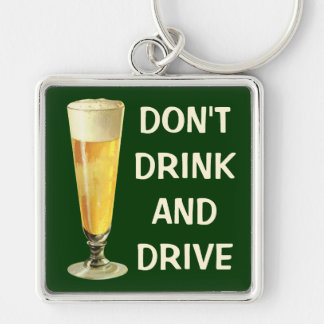 Vintage Tall Frosty Draft Beer, Alcohol Beverage Silver-Colored Square Key Ring