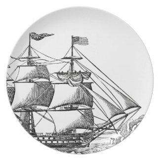 Vintage Tall Ship Woodblock Print Melamine Plate