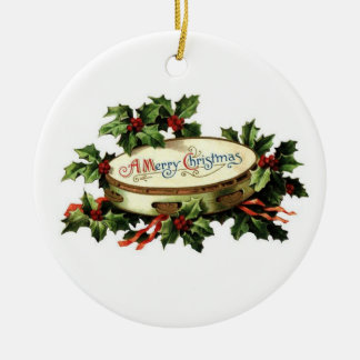 Vintage Tambourine and Holly Christmas Ornament