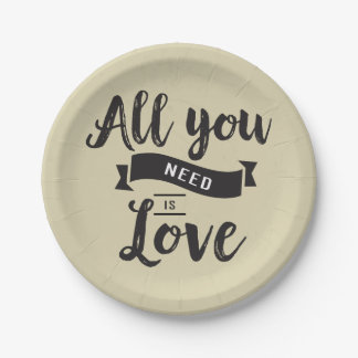Vintage Tan And Black Love Wedding Typography Paper Plate