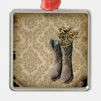 vintage tan damask western country cowboy christmas ornament