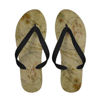Vintage tan floral print flip flops