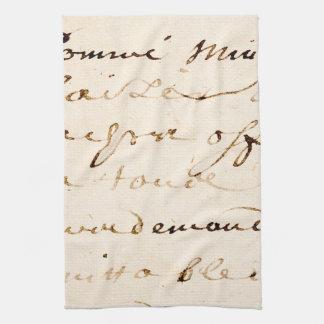Vintage Tan French Letter Script Parchment Tea Towel