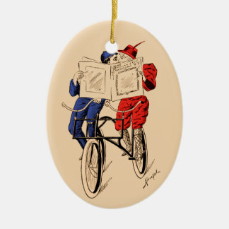 Vintage Tandem Bicycle Couple Reading Kissing Ceramic Oval Decoration