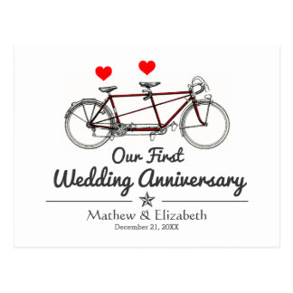Vintage Tandem Bicycle Custom Wedding Anniversary Postcard