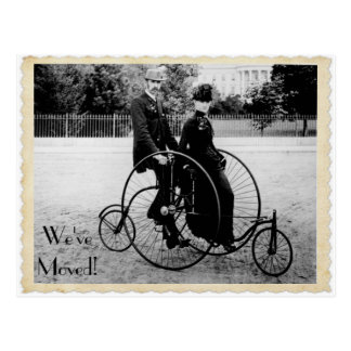 Vintage Tandem Bicycle Moving Postcard