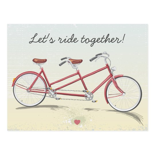 Vintage Tandem Bicycle Postcard