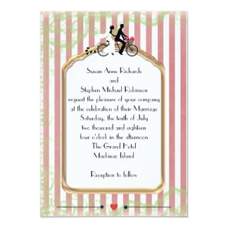 Vintage Tandem Bicycle Red Stripe and Green Lace 13 Cm X 18 Cm Invitation Card