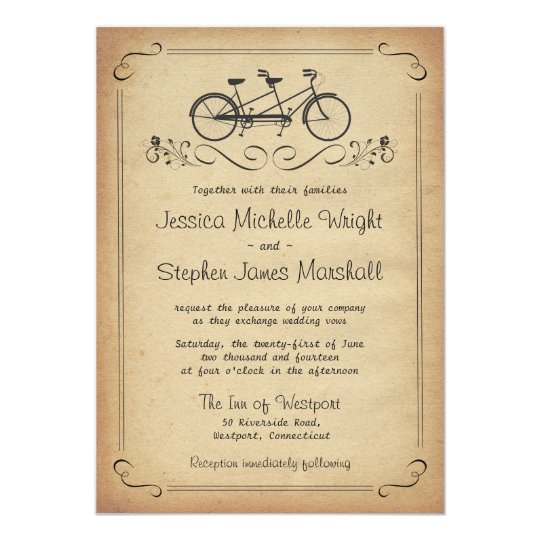 Vintage Tandem Bicycle Wedding Invitations