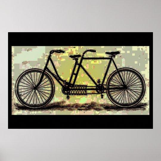 Vintage Tandem Bike Poster/ Bicycle Built for Two