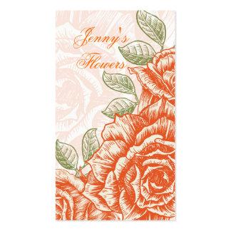 Vintage tangerine orange roses custom pack of standard business cards