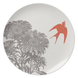 Vintage Tangerione Bird Vintage Gerber Daisy Plates