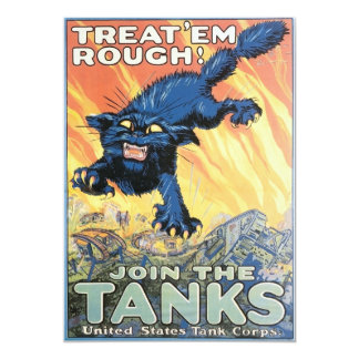 Vintage  Tank Corps Recruiting Poster 13 Cm X 18 Cm Invitation Card