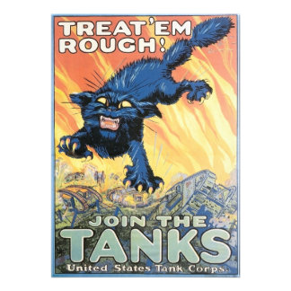 Vintage Tank Corps Recruiting Poster Invitation