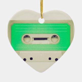 Vintage tape cassette ceramic heart decoration