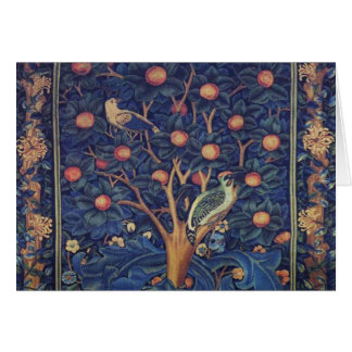 Vintage Tapestry Birds Floral Design Woodpecker Card