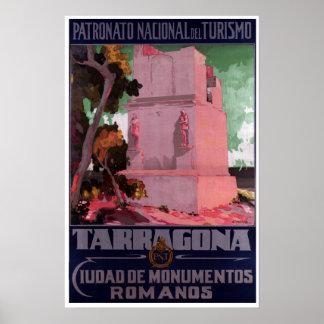 Vintage Tarragona Spain Roman Monuments Travel Poster