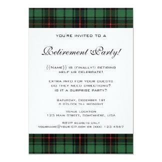 Vintage Tartan, Davidson Modern Retirement Party Personalized Announcement